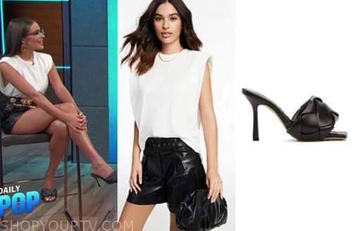 olivia culpo, e! news, daily pop, white tee, black leather shorts