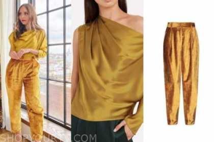 lilliana vazquez, yellow satin drape top, gold velvet pants, the wendy williams show