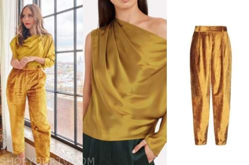 lilliana vazquez, yellow satin drape top, gold velvet pants, the wendy williams show