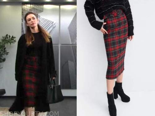 victoria newman, amelia heinle, red plaid pencil skirt, the young and the restless
