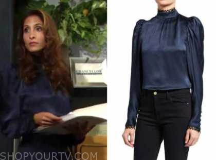 lily winters, the young and the restless, navy blue silk mock neck blouse, christel khalil