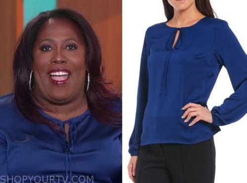 sheryl underwood, the talk, blue keyhole tie neck blouse