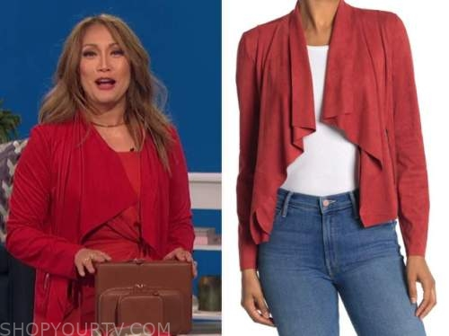 carrie ann inaba, red suede drape jacket, the talk