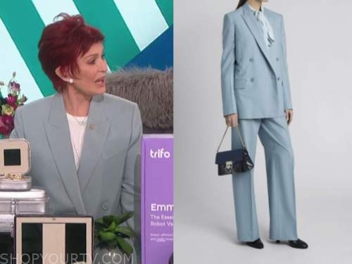 sharon osbourne, the talk, blue grey double breasted blazer and pant suit