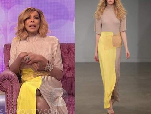 wendy williams, the wendy williams show, beige and yellow ribbed knit maxi dress