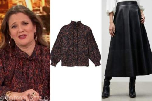 drew barrymore, drew barrymore show, black mock neck printed silk top and black leather skirt