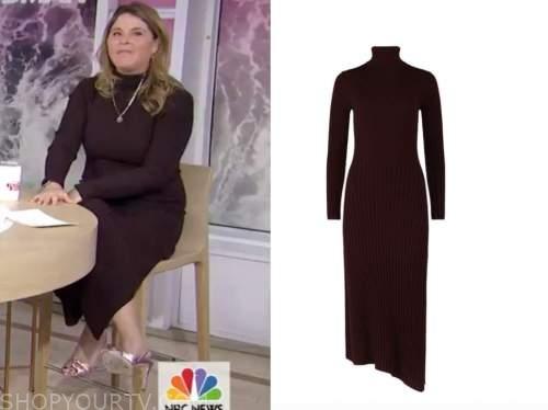 jenna bush hager, the today show, brown turtleneck midi dress