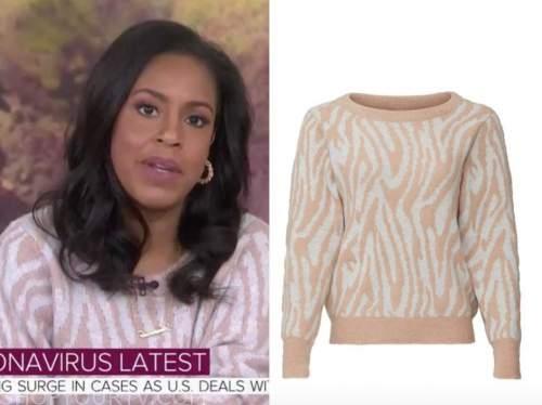 sheinelle jones, the today show, beige tiger stripe sweater