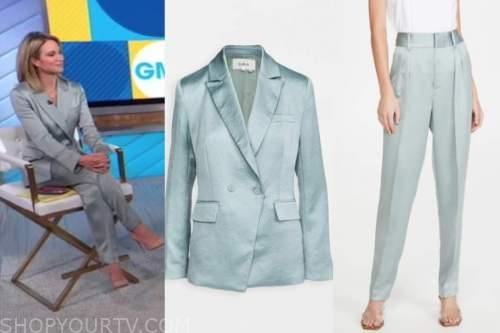 amy robach, teal satin blazer and pant suit, good morning america