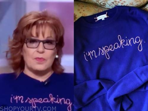 joy behar, the view, blue and pink embroidered sweater