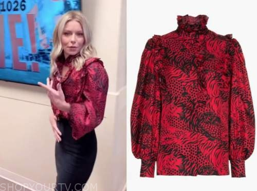 kelly ripa, live with kelly and ryan, red leopard blouse