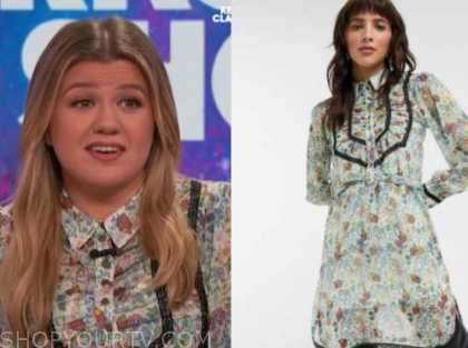 kelly clarkson, the kelly clarkson show, green floral shirt dress