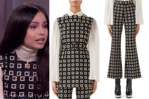 sofia carson, black logo top and pants, the kelly clarkson show