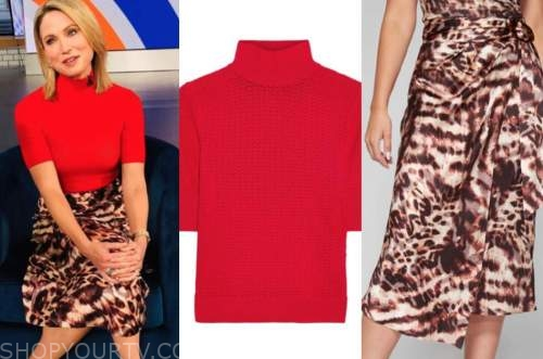 amy robach, red turtleneck top, leopard skirt, gma3,