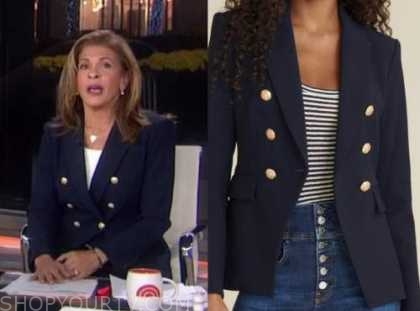 hoda kotb, the today show, navy blue double breasted blazer