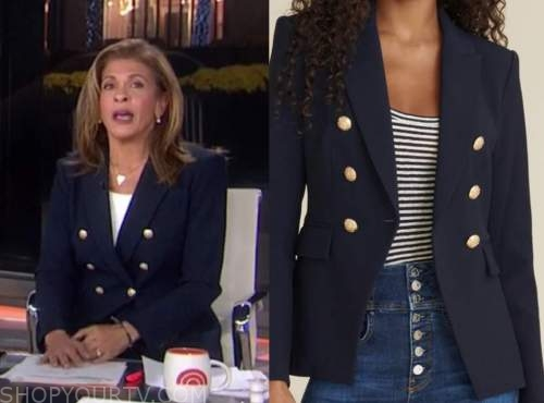 hoda kotb, the today show, navy blue double breasted blazer