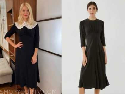 holly willoughby, this morning, black dress and lace collar