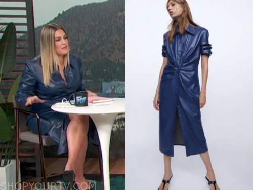 carissa culiner, E! news, blue leather shirt dress