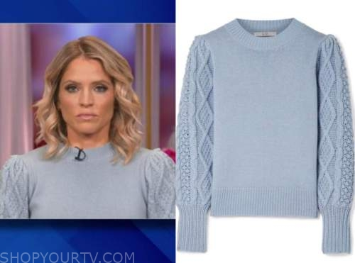 sara haines, the view, blue cable knit sleeve sweater