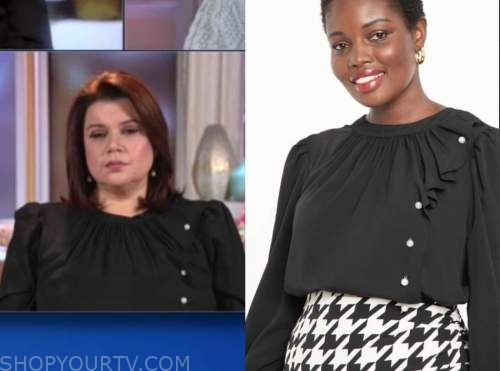 ana navarro, the view, black pearl button blouse
