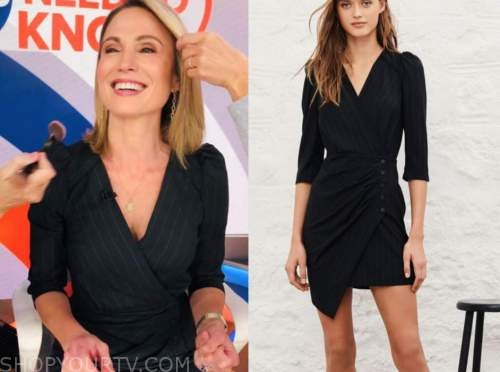 amy robach, black stripe dress, good morning america