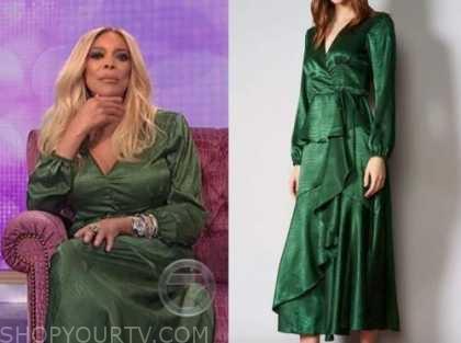 wendy williams, the wendy williams show, green satin midi dress