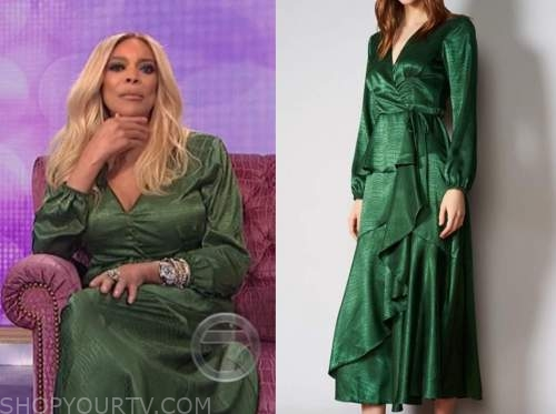 wendy williams, the wendy williams show, green satin midi dress