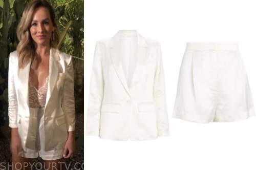 clare crawley, the bachelorette, white satin shorts suit