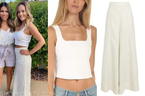 clare crawley, the bachelorette, white crop top, linen striped pants