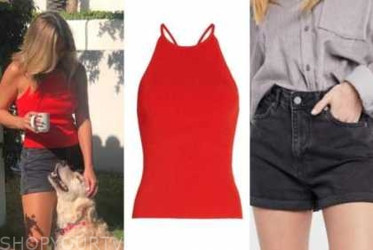 clare crawley, the bachelorette, red top, black denim shorts