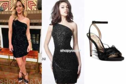 clare crawley, the bachelorette, black sequin one-shoulder dress, feather heels