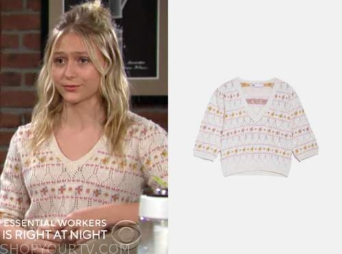 alyvia alyn lind, faith newman, beige and pink printed sweater, the young and the restless