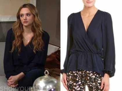 summer newman, hunter king, navy blue blouse, the young and the restless