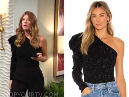 michelle stafford, phyllis newman, black one-shoulder sweater, the young and the restless