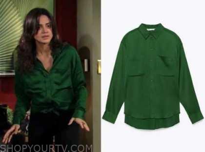 sasha calle, lola rosales, green satin shirt, the young and the restless