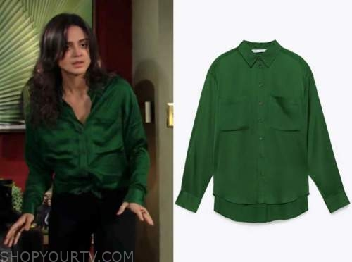 sasha calle, lola rosales, green satin shirt, the young and the restless