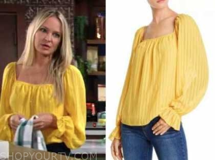 sharon newman, sharon case, the young and the restless, yellow blouse