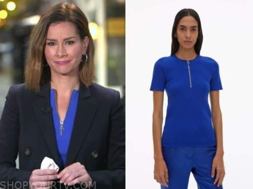 rebecca jarvis, good morning america, blue zip-front top