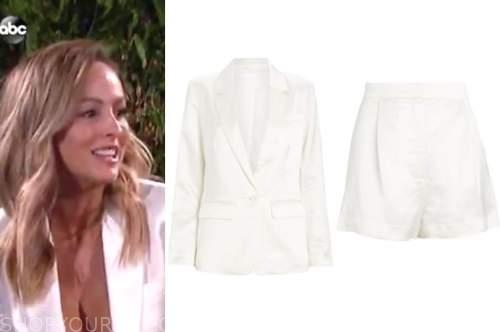 clare crawley, the bachelorette, white satin blazer and white satin shorts