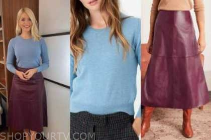 holly willoughby, blue sweater, burgundy leather skirt, this morning
