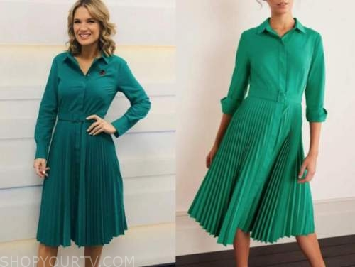 charlotte hawkins, good morning britain, green pleated shirt dress