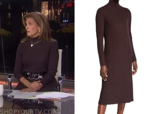 hoda kotb, brown turtleneck sweater dress, the today show