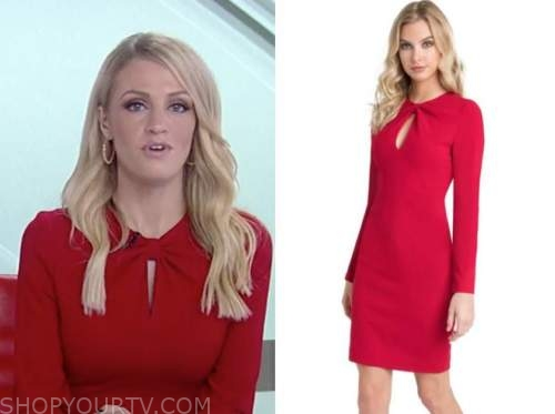 carley shimkus, fox and friends, red keyhole dress