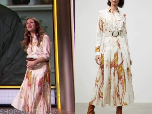 drew barrymore, drew barrymore show, white abstract marble shirt and skirt dress