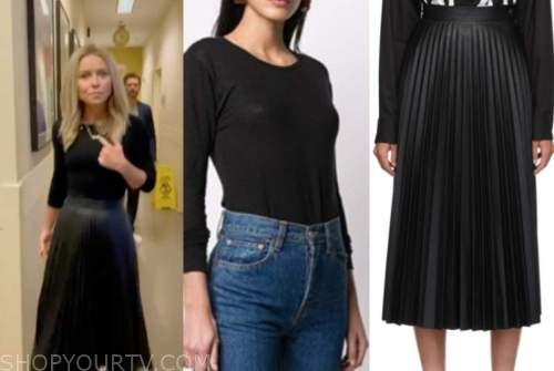 kelly ripa, live with kelly and ryan, black top, black pleated leather skirt