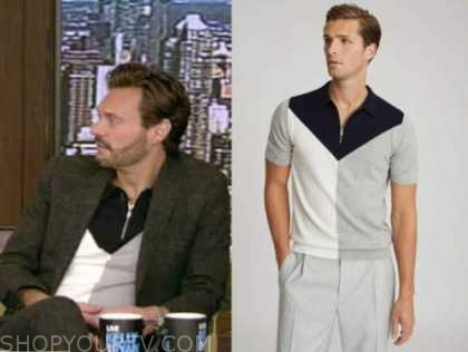 ryan seacrest, live with kelly and ryan, colorblock knit polo shirt