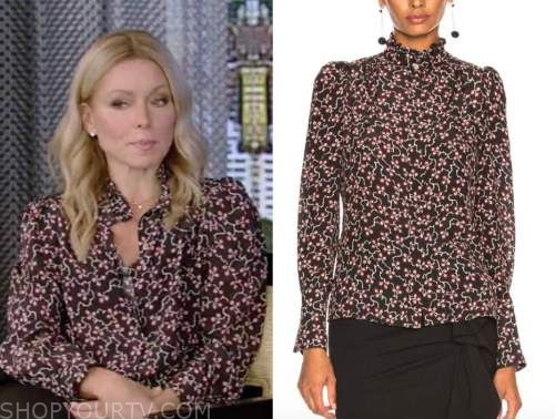 live with kelly and ryan, kelly ripa, black floral blouse