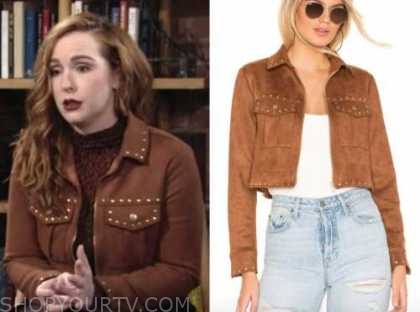 camryn grimes, mariah copeland, brown suede studded jacket, the young and the restless