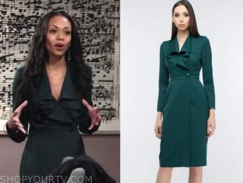 amanda sinclair, mishael morgan, green dress, the young and the restless