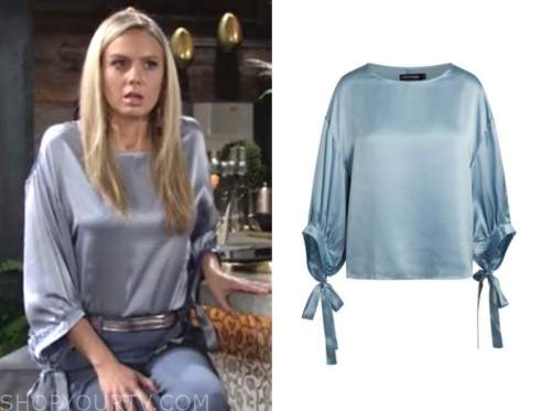 the young and the restless, abby newman, melissa ordway, blue tie sleeve blouse